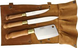 MAM 4pc Cleaver Paring Utility Fixed Knife Set w/ Leather Kn