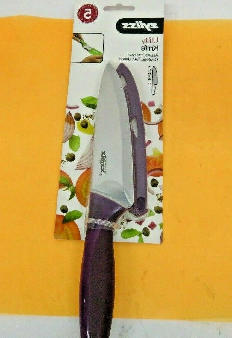 ZYLISS Utility Paring Kitchen Knife with Sheath Cover, 5.5-I