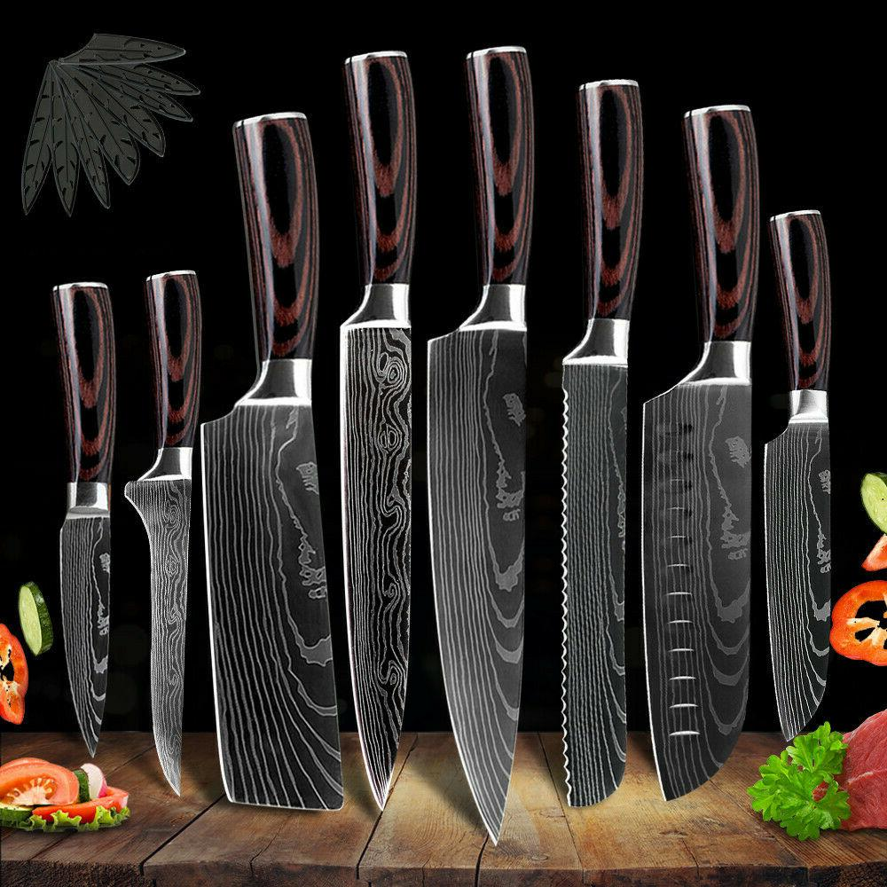 kitchen chef knife set stainless steel damascus