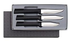 Rada Paring Knives 3 Knife Set  Black Handles w Knife Sharpe